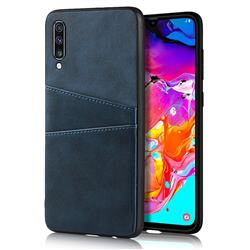 Simple Calf Card Slots Mobile Phone Back Cover for Samsung Galaxy A70 - Blue