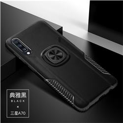 Knight Armor Anti Drop PC + Silicone Invisible Ring Holder Phone Cover for Samsung Galaxy A70 - Black