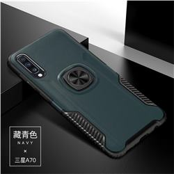 Knight Armor Anti Drop PC + Silicone Invisible Ring Holder Phone Cover for Samsung Galaxy A70 - Navy