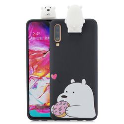 Big White Bear Soft 3D Climbing Doll Stand Soft Case for Samsung Galaxy A70