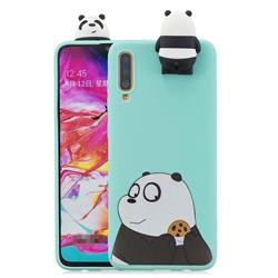 Striped Bear Soft 3D Climbing Doll Stand Soft Case for Samsung Galaxy A70