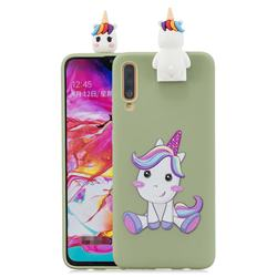 Cute Unicorn Soft 3D Climbing Doll Stand Soft Case for Samsung Galaxy A70