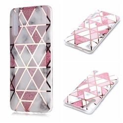 Pink Rhombus Galvanized Rose Gold Marble Phone Back Cover for Samsung Galaxy A70