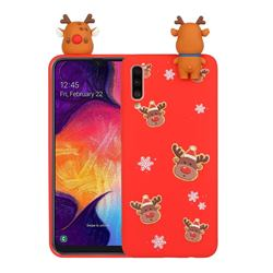 Elk Snowflakes Christmas Xmax Soft 3D Doll Silicone Case for Samsung Galaxy A70