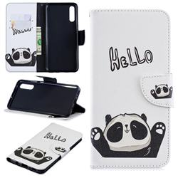 Hello Panda Leather Wallet Case for Samsung Galaxy A70
