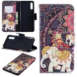 Totem Flower Elephant Leather Wallet Case for Samsung Galaxy A70