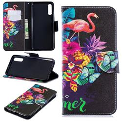 Flowers Flamingos Leather Wallet Case for Samsung Galaxy A70