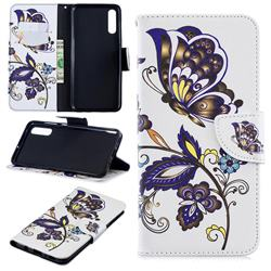 Butterflies and Flowers Leather Wallet Case for Samsung Galaxy A70
