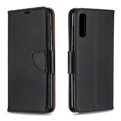 Classic Luxury Litchi Leather Phone Wallet Case for Samsung Galaxy A70 - Black