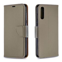 Classic Luxury Litchi Leather Phone Wallet Case for Samsung Galaxy A70 - Gray