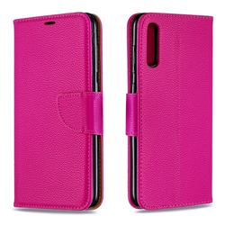 Classic Luxury Litchi Leather Phone Wallet Case for Samsung Galaxy A70 - Rose