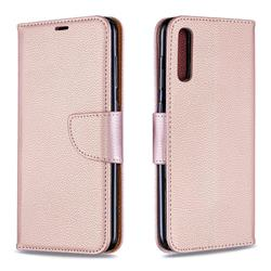 Classic Luxury Litchi Leather Phone Wallet Case for Samsung Galaxy A70 - Golden