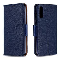 Classic Luxury Litchi Leather Phone Wallet Case for Samsung Galaxy A70 - Blue