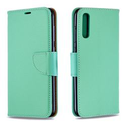 Classic Luxury Litchi Leather Phone Wallet Case for Samsung Galaxy A70 - Green