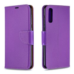 Classic Luxury Litchi Leather Phone Wallet Case for Samsung Galaxy A70 - Purple