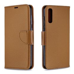 Classic Luxury Litchi Leather Phone Wallet Case for Samsung Galaxy A70 - Brown