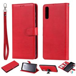 Retro Greek Detachable Magnetic PU Leather Wallet Phone Case for Samsung Galaxy A70 - Red