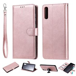 Retro Greek Detachable Magnetic PU Leather Wallet Phone Case for Samsung Galaxy A70 - Rose Gold