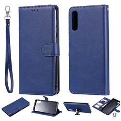 Retro Greek Detachable Magnetic PU Leather Wallet Phone Case for Samsung Galaxy A70 - Blue