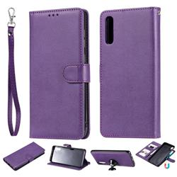 Retro Greek Detachable Magnetic PU Leather Wallet Phone Case for Samsung Galaxy A70 - Purple