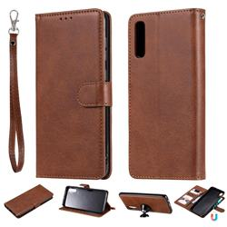 Retro Greek Detachable Magnetic PU Leather Wallet Phone Case for Samsung Galaxy A70 - Brown