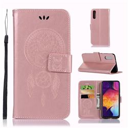Intricate Embossing Owl Campanula Leather Wallet Case for Samsung Galaxy A70 - Rose Gold