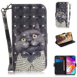 Cat Embrace 3D Painted Leather Wallet Phone Case for Samsung Galaxy A70