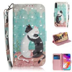 Black and White Cat 3D Painted Leather Wallet Phone Case for Samsung Galaxy A70