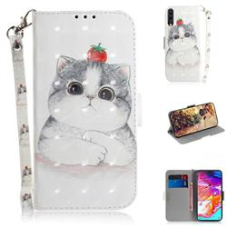 Cute Tomato Cat 3D Painted Leather Wallet Phone Case for Samsung Galaxy A70