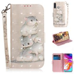 Three Squirrels 3D Painted Leather Wallet Phone Case for Samsung Galaxy A70