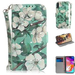 Watercolor Flower 3D Painted Leather Wallet Phone Case for Samsung Galaxy A70