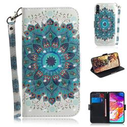 Peacock Mandala 3D Painted Leather Wallet Phone Case for Samsung Galaxy A70