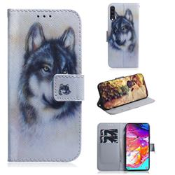 Snow Wolf PU Leather Wallet Case for Samsung Galaxy A70