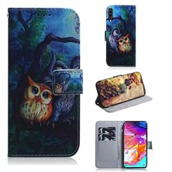 Oil Painting Owl PU Leather Wallet Case for Samsung Galaxy A70