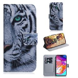 White Tiger PU Leather Wallet Case for Samsung Galaxy A70