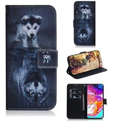 Wolf and Dog PU Leather Wallet Case for Samsung Galaxy A70