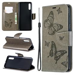 Embossing Double Butterfly Leather Wallet Case for Samsung Galaxy A70 - Gray