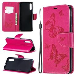 Embossing Double Butterfly Leather Wallet Case for Samsung Galaxy A70 - Red