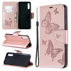 Embossing Double Butterfly Leather Wallet Case for Samsung Galaxy A70 - Rose Gold