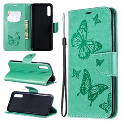 Embossing Double Butterfly Leather Wallet Case for Samsung Galaxy A70 - Green