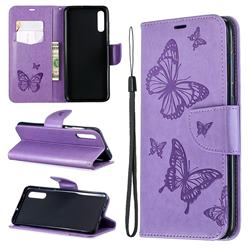 Embossing Double Butterfly Leather Wallet Case for Samsung Galaxy A70 - Purple