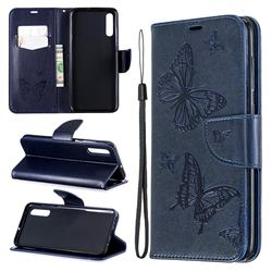 Embossing Double Butterfly Leather Wallet Case for Samsung Galaxy A70 - Dark Blue