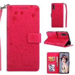 Embossing Fireworks Elephant Leather Wallet Case for Samsung Galaxy A70 - Red