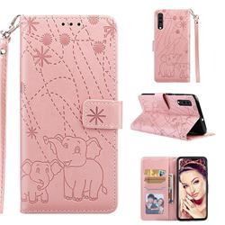 Embossing Fireworks Elephant Leather Wallet Case for Samsung Galaxy A70 - Rose Gold
