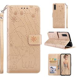 Embossing Fireworks Elephant Leather Wallet Case for Samsung Galaxy A70 - Golden