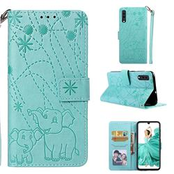 Embossing Fireworks Elephant Leather Wallet Case for Samsung Galaxy A70 - Green