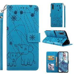Embossing Fireworks Elephant Leather Wallet Case for Samsung Galaxy A70 - Blue