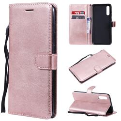 Retro Greek Classic Smooth PU Leather Wallet Phone Case for Samsung Galaxy A70 - Rose Gold
