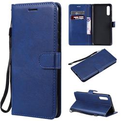 Retro Greek Classic Smooth PU Leather Wallet Phone Case for Samsung Galaxy A70 - Blue