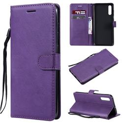 Retro Greek Classic Smooth PU Leather Wallet Phone Case for Samsung Galaxy A70 - Purple